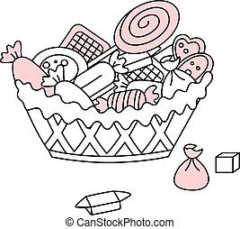 Vector Doodle Basket with Sweets, Cookies, Candies and Biscuits