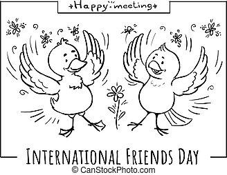 Vector doodle card Happy meeting birds friends