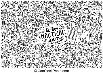 Vector doodle cartoon set of Nautical objects