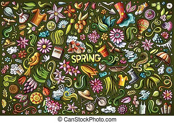 Vector doodle cartoon set of Spring objects and symbols