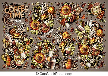 Vector doodle cartoon set of tea and coffee objects