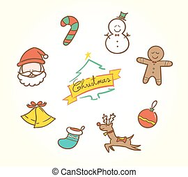 Vector :Doodle Christmas icon set in vintage color style