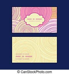 Vector doodle circle texture horizontal frame pattern business cards set