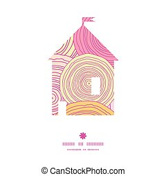 Vector doodle circle texture house silhouette pattern frame