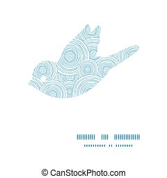 Vector doodle circle water texture bird silhouette pattern frame