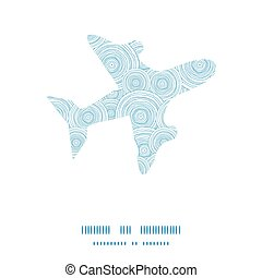 Vector doodle circle water texture airplane silhouette pattern frame