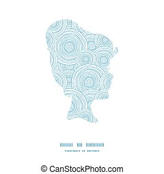 Vector doodle circle water texture girl portrait silhouette pattern frame