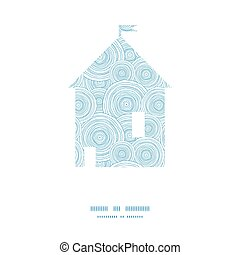 Vector doodle circle water texture house silhouette pattern frame