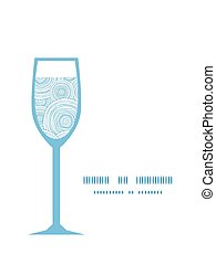 Vector doodle circle water texture wine glass silhouette pattern frame
