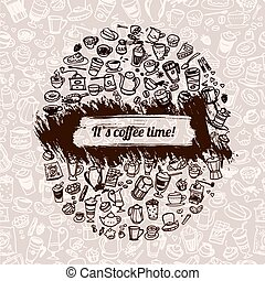 vector doodle coffee and tea background