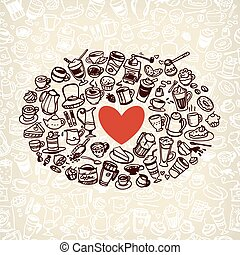 vector doodle coffee and tea - vector doodle coffee, tea and...