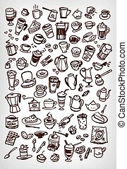 vector doodle coffee and tea