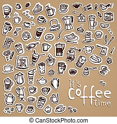 vector doodle coffee icons - vector doodle coffee, tea and...
