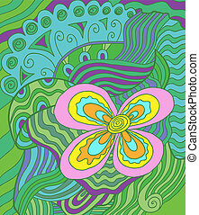 Vector doodle - Colorful vector doodle. Abstract flowers on...