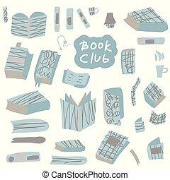 vector, doodle, concept., illustratie, boek, style.