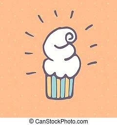 Vector doodle cupcake