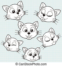 Vector Doodle Cute Cat Face Collection