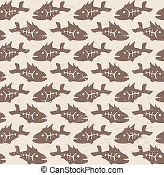 Vector doodle decorative fish patte