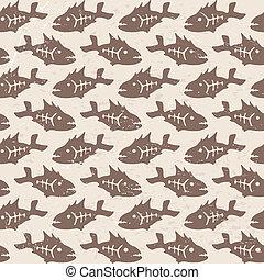 Vector doodle decorative fish patte - Vector doodle...