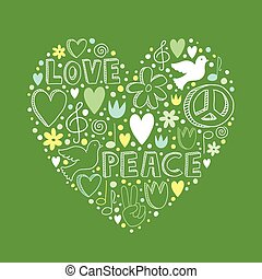 Vector doodle elements on love and peace theme in heart shape