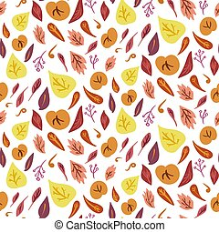 Vector doodle fall seamless pattern. Various leaves