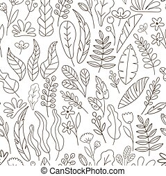 Vector doodle floral seamless pattern with florals