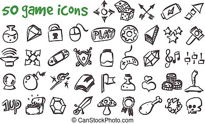 vector doodle game icons set