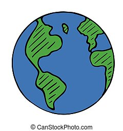 Vector doodle globe icon, hand drawn earth isolated
