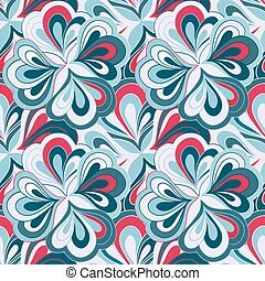 Vector doodle hand drawn abstract seamless floral pattern