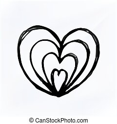 Vector doodle Heart Isolated, hand drawn illustration