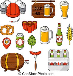 Vector doodle icons. Set of beer symbols. Beer helmet, mug, glass, sausage, barrel, beer pong