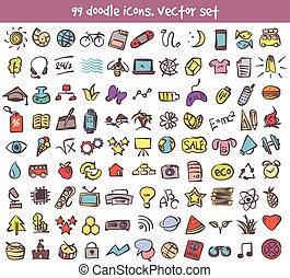 vector doodle icons set - Vector doodle icons set. Stock...