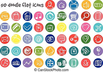 vector doodle icons set