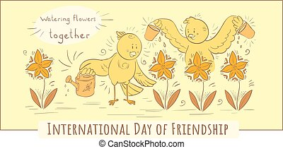 Vector doodle illustration Birds Watering flowers together - yellow greeting card