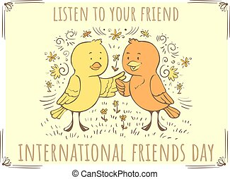 Vector doodle illustration Listen to your friend - birds tweet chirp