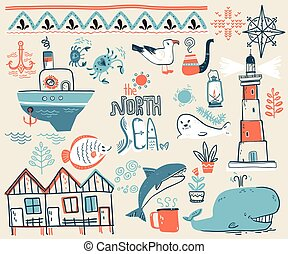 Vector doodle illustration. North sea. Scandinavian style. Colle