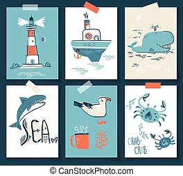 Vector doodle illustration. North sea. Scandinavian style. Ready