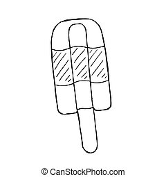 Vector doodle line drawing cartoon ice lolly, hand drawn