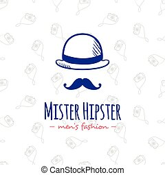Vector doodle man head stylized logo. Hand drawn hipster logotype.