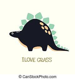 Vector doodle of cute dinosaur