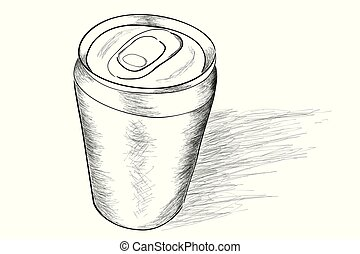 Vector Doodle of Soft Drink Can, with shadow, view from top
