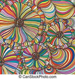 Vector doodle outline abstract ornamental flowers stripe background