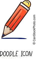 Vector Doodle Pencil Icon. Pencil with eraser.