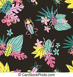 Vector doodle seamless pattern with big decorative tropic bugs a