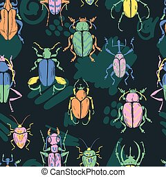 Vector doodle seamless pattern with big decorative tropic bugs.