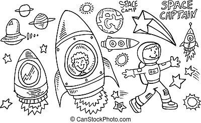vector, doodle, set, buitenste ruimte