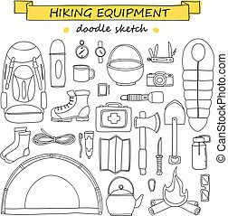 Vector doodle set of hiking and camping equipment. Tourism icons