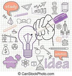 Vector doodle set of icons symbol idea