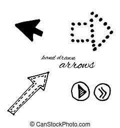 vector, doodle, set, pijl
