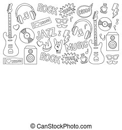 Vector doodle set with music hand drawn elements